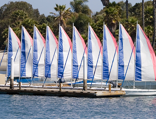 Sailboats ready to be rented from Action Sport Rental at the Bahia Resort hotel in Mission Bay