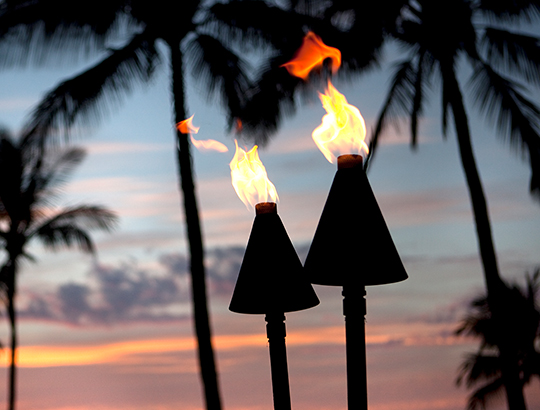 Lit tiki torches at sunset near Seal Pond