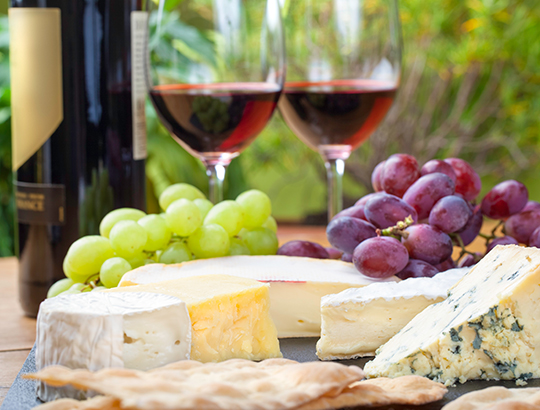 Cheese, fruit and wine