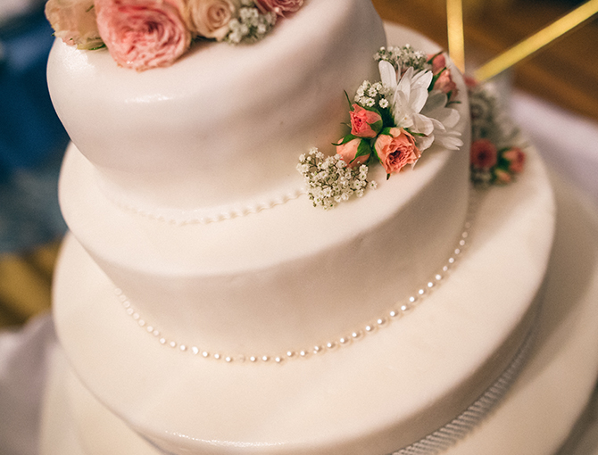 Close up of tier wedding cake