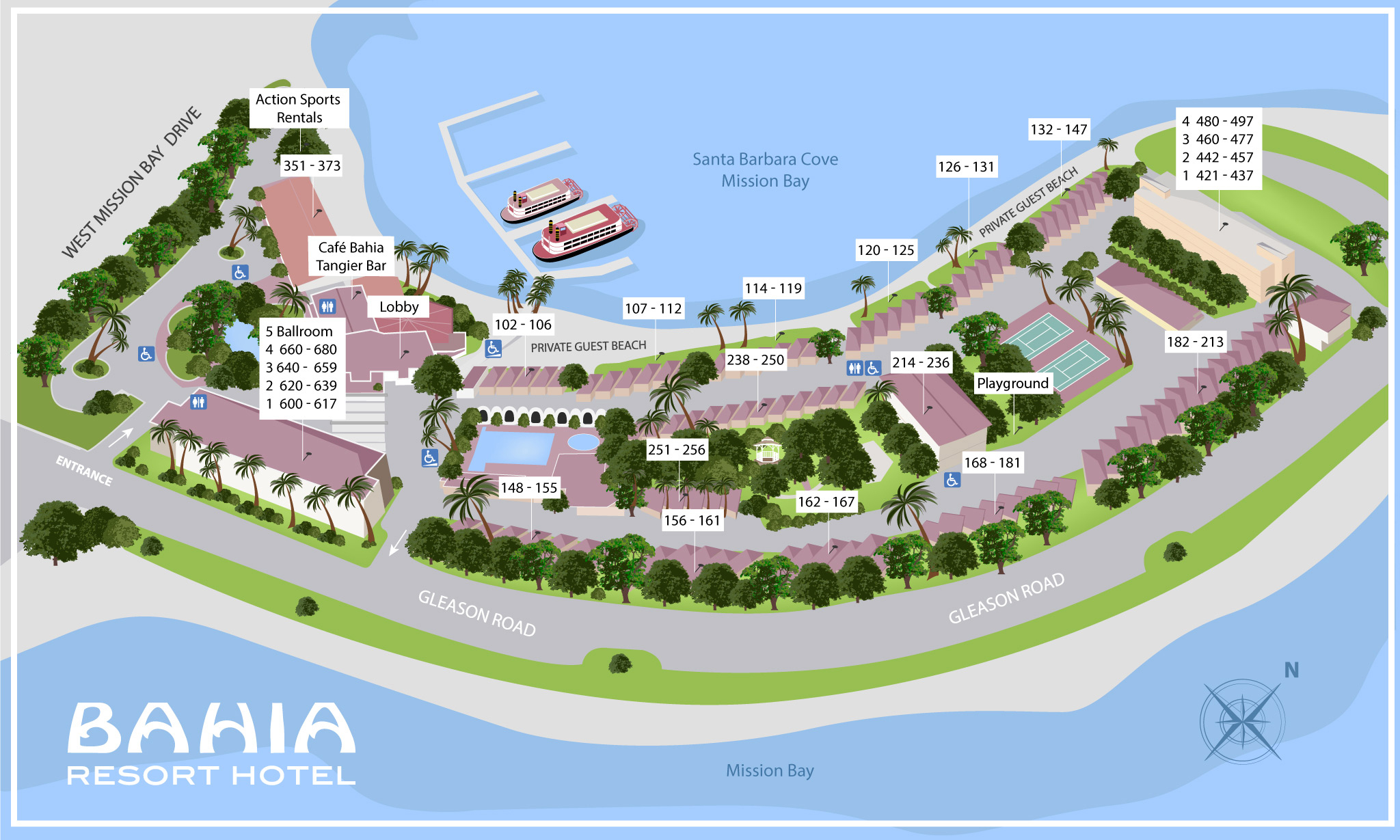Bahia Resort Hotel Property Map