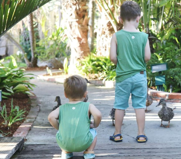 Boys feeding ducks in the lush gardens