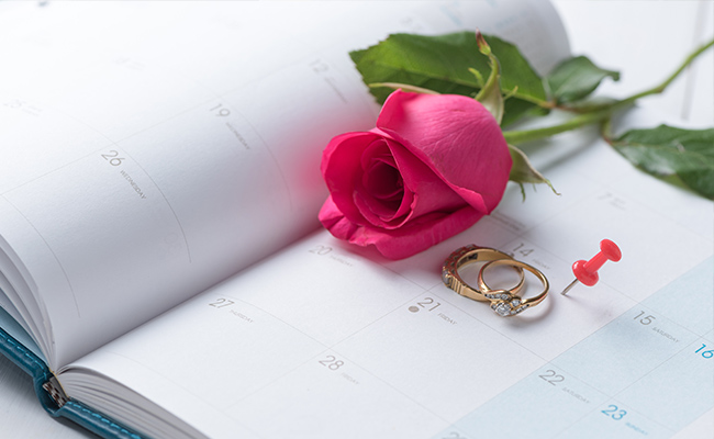 Calendar open with wedding date highlighted