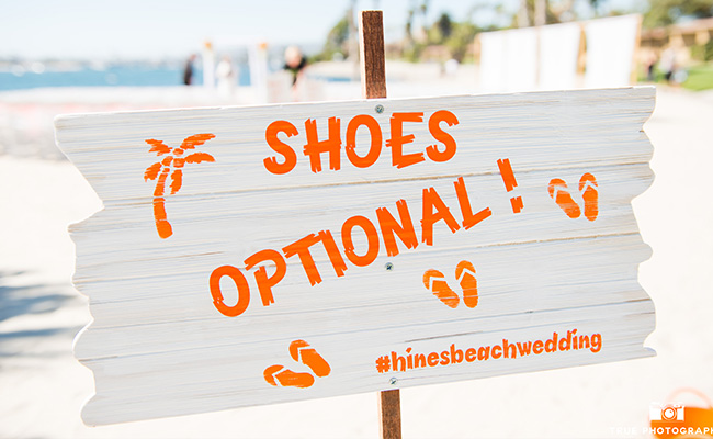Beach Wedding sign to announce shoes optional