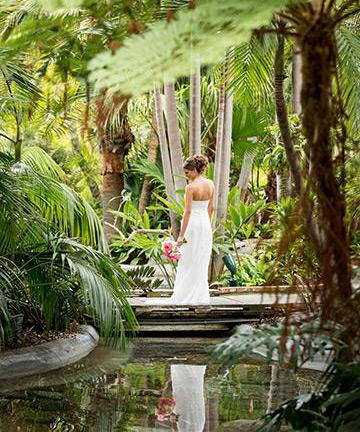 Bride in the gardens at the Bahia Resort Hotel