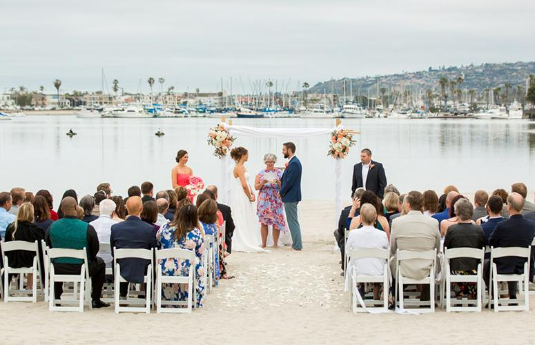 Beach ceremony overlooking Mission Bay